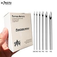 5/30pcs Sterilized Disposable Body Piercing Needles Surgical Steel Tattoo Supply Ear Nose Tongue Lip Navel Piercing Tools 10-20G