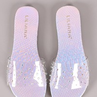 Liliana Holographic Snake Clear Rhinestone Band Slide Sandal