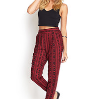 FOREVER 21 Arrowhead Harem Pants Burgundy/Black