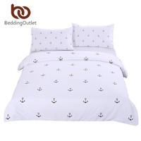 BeddingOutlet Anchor Bedding Set Queen Size Simple Style Bed Cover for Bedroom White Bedclothes Printed Soft with Pillowcase