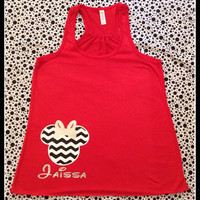 Disney Inspired Chevron Minnie with Sparkly Glitter Bow Perfect For any Summer Trip To Disneyland