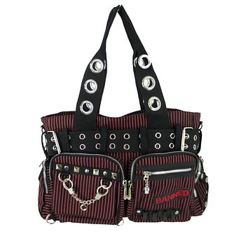 Striped Punk Rock Steampunk Purse with Handcuff Skull Charm