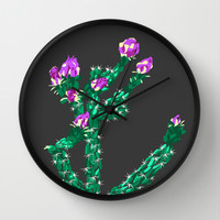 Flowering Cactus Wall Clock by K_c_s