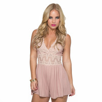 Lace Of My Life Romper In Blush Pink