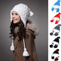 Lady Women Knit Winter Warm Crochet Hat Braided Baggy Beret Beanie Cap 6 Color c  W_L = 1958147332