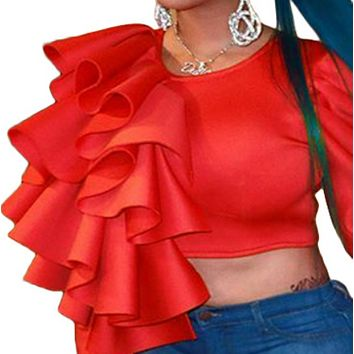 New hot sale sexy slim-fit unilateral ruffled sweater