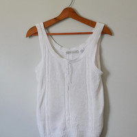 Vintage 80s Sweater Tank Knit White Sweater Tank Top Slouchy Fit Gloria Vanderbilt Sweater Size Small