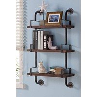 "40"" Booker Industrial Pine Wood Floating Wall Shelf In Gray And Walnut-Armen Living"