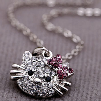 Cute Kitty Cat Design Pendant Chain Necklace Charm - Clear Rhinestone