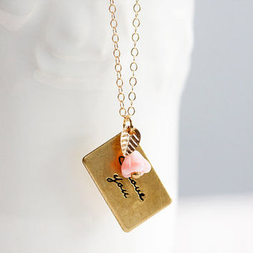 Love Letter Necklace Tiny Leaf Pink Flower Love Message I Love You Forever Romantic Sweet Necklace - N269
