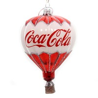 Licensed COCA-COLA BALLOON ORNAMENT Glass Hot Air Basket Beverage Cc4131