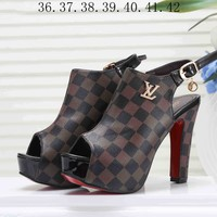 LV Louis Vuitton Popular Women Princess High Heels High-Heeled Shoes Sandals Coffee Plaid I-KSPJ-BBDL