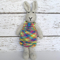 """Tall Hand Knit Bunny Rabbit in Neon Dress - Baby Girl Shower Gift - Knit Animal Toy - Plush Doll Stuffed Animal Toy - Bunny Doll 15"""" Tall"""