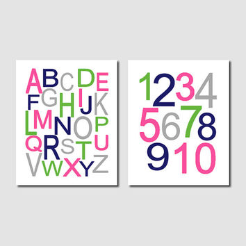 Alphabet Letters, ABC Wall Art, Girl Nursery Art, Hot Pink Navy Green Gray, Set of 2 Prints Or Canvas, Playroom Decor