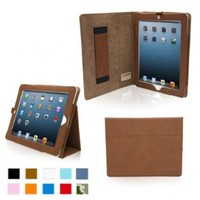 Snugg Leather Flip Stand Case for Apple iPad 3 and 4 - Distressed Brown