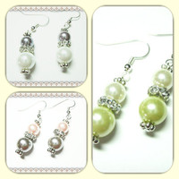 Glass Pearl Earrings~Pearl Drop Earrings~Pink Earrings~Dangle Earrings~Wedding Earrings~Women's Glass Pearl Earrings
