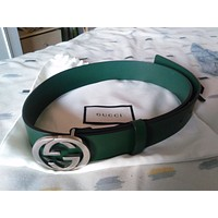 Gucci Leather Belt With Interlocking G Buckle 368186 With Dust Bag