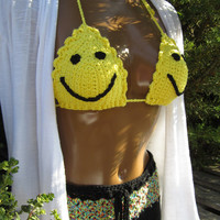 Color it any way you want it ~ Yellow Smiley Face 100% Cotton Crochet Adjustable Bikini Top