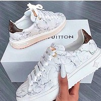 Louis Vuitton LV Marble texture Contrast Shoes White monogram tail