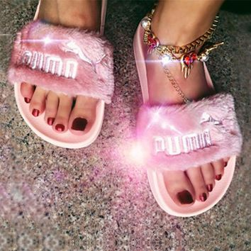 Puma X Rihanna Leadcat Fent Women Man Fashion Lover Fur  Sandal Slipper Shoes