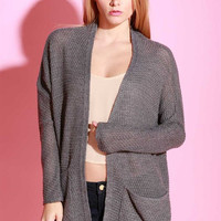 Simple Knit Long Cardigan - Grey- FINAL SALE