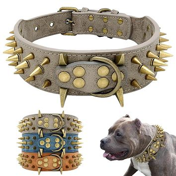 Large Dogs Cool Leather Collar