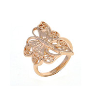 Dear Deer Rose Gold Plated Butterfly Art Filigree Cocktail Ring