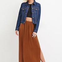 Side-Slit Satin Maxi Skirt
