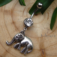 Elephant Belly Button Ring- Crystal Belly Ring- Silver Elephant Charm Dangle Navel Piercing Bar Barbell- B042