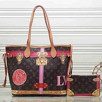 Louis Vuitton Women Fashion Leather Satchel Shoulder Bag Handbag Crossbody Two Piece Set