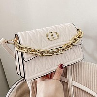 Dior CD new trendy bag fashion shoulder bag chain can be portable casual messenger bag White