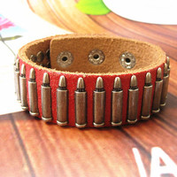 Rock  Punk Style Red Leather with bullet Pendant  Women Leather Cuff Bracelet   SL0021-R