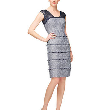 Kay Unger Tweed and Lace Sheath Dress