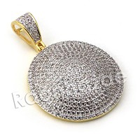 Lab diamond Micro Pave Medallion Round Pendant w/ Miami Cuban Chain BR011