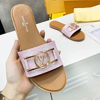 LV Louis Vuitton Popular Women Leather Sandals Slippers Shoes Pink