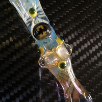 BATMAN Glass pipe chillum fumed one hitter.  Hand blown BATMAN Millie with highlights. Color changing.  Flat mouth piece.