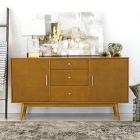 Extra Wide Acorn Brown Wood Mid Century Media Stand