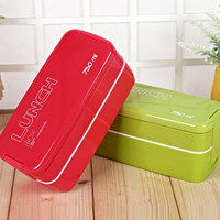 750ml Double Layers Portable Microwave Lunch Box With Spoon Candy Color Bento Box Food Containers Lunchbox Eco-Friendly