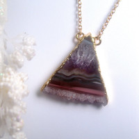 Triangle - Raw Amethyst Necklace - Druzy - Geode Slice - Stalactite - Crystal - Pendant