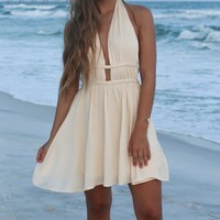 Montego Bay Ivory Rope Halter Dress