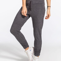 Inspired Hearts Ruched Leg Womens Jogger Pants Charcoal  In Sizes