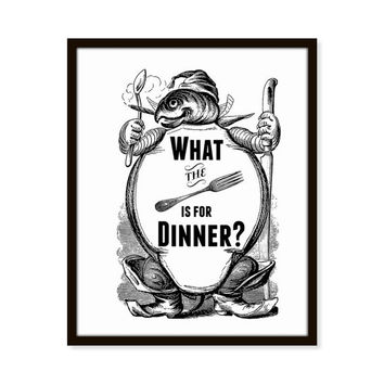 What the Fork Is For Dinner? Vintage Turtle Kitchen Art, Quote 5x7, 8X10, 11x14 Typography Funny Print Wall Art, Wall Decor