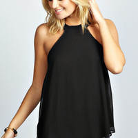 Aliza Woven Open Back Halter Neck Top