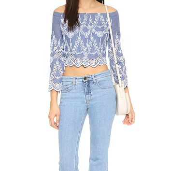 Eyelet Off The Shoulder Top by Kendall + Kylie