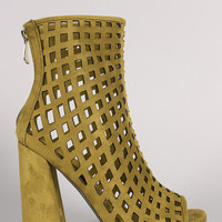 Suede Perforated Peep Toe Chunky Heeled Booties