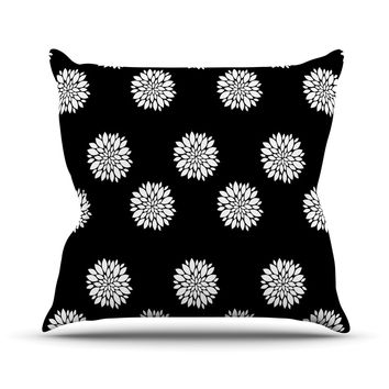 """Suzanne Carter """"Peony Rose"""" Black White Outdoor Throw Pillow"""