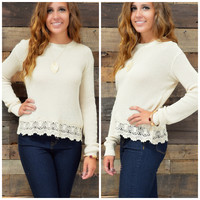 SZ LARGE Cedar Acres Beige Knit Sweater