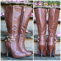 City Slicker Brown Heeled Gold Buckle Boot