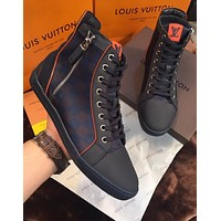lv louis vuitton trending womens black leather side zip lace up ankle boots shoes high boots 208