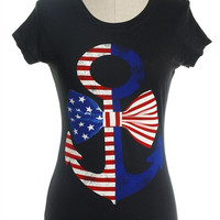 American Flag Anchor and Bow T-Shirt // Black